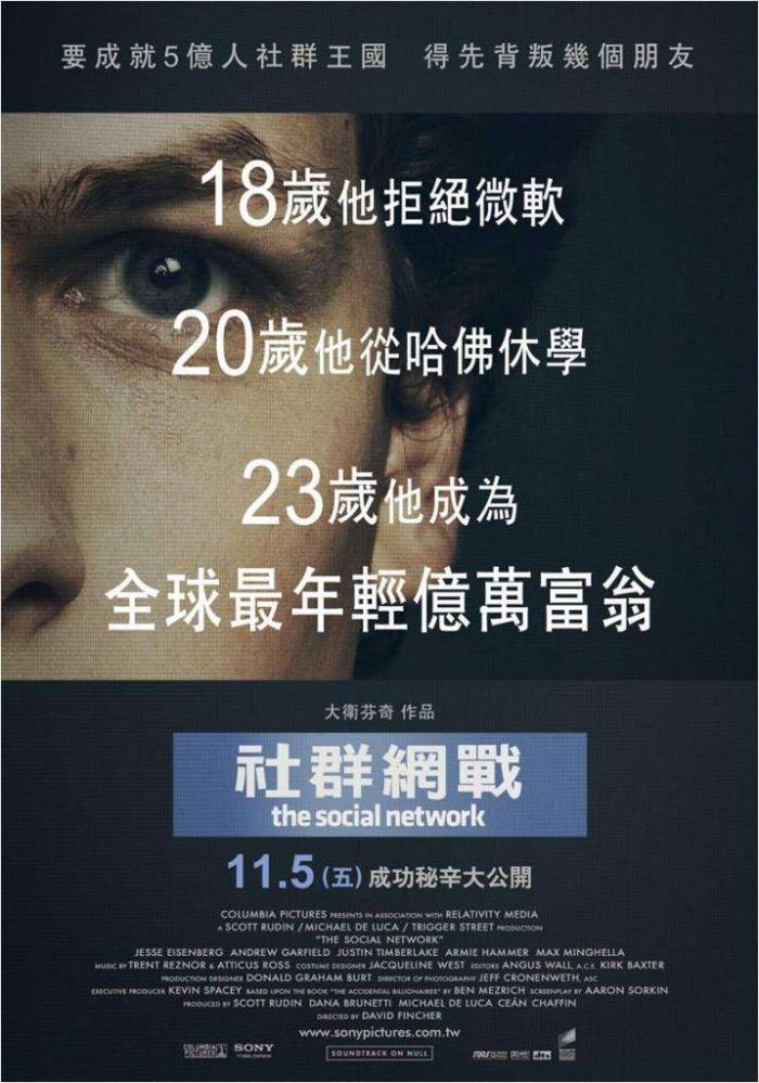 社群網戰_The Social Network_電影海報
